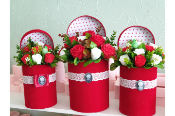 Коробки бархатные  с крышкой набор 3шт красный