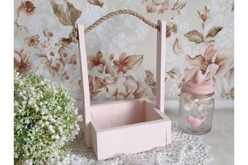 Кашпо деревянное розовое