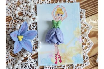 Платье для куколки Синий цветок