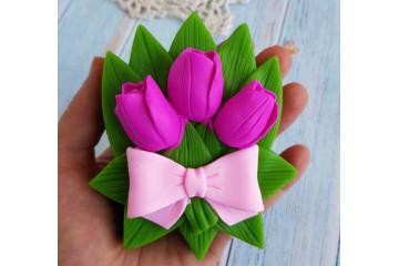 Букет тюльпанов с бантиком